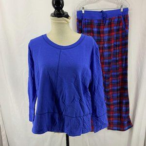 Nautica Blue Plaid Fleece Pajama Set